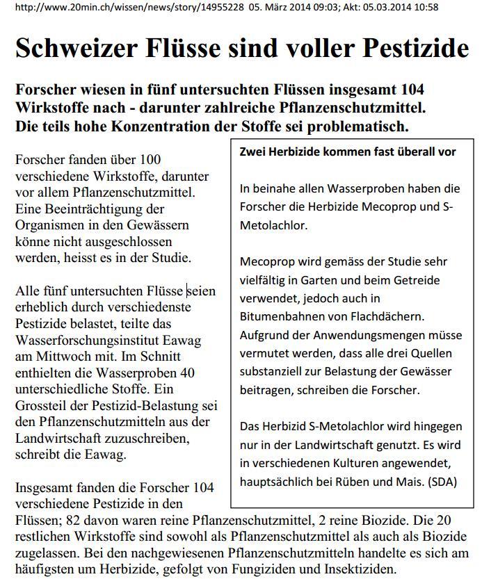 Pestizide in Schweizer Flüssen 1