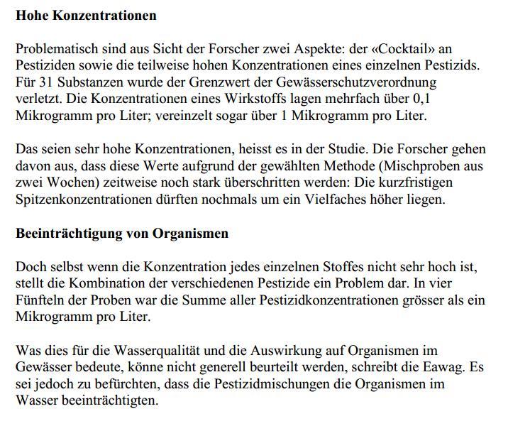 Pestizide in Schweizer Flüssen 2