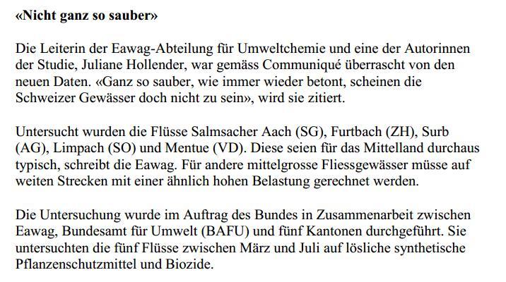Pestizide in Schweizer Flüssen 3